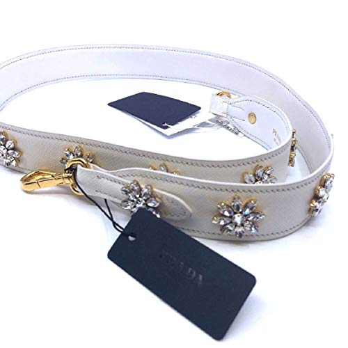 (Prada Women's Saffiano Leather Crystal Flower Women's White Handbag Strap 1TY002)