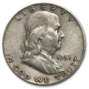 1951 D Franklin Half Dollar Fine/XF Half Dollar Fine