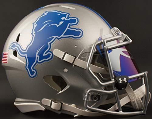 Nfl Shield Logo Helmet - Riddell Detroit Lions Full Size NFL Football Helmet with UA TILT-Logo/Blue Visor/Eye Shield