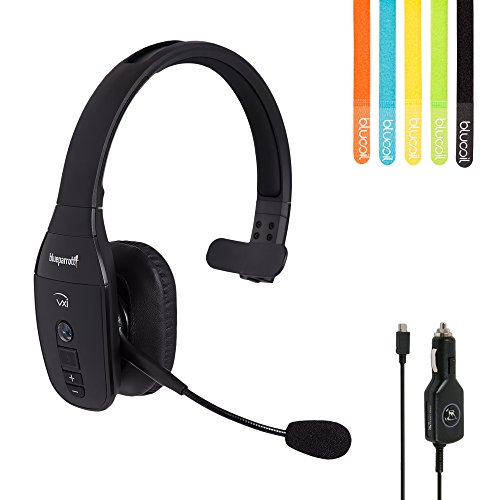 VXi BlueParrot B450-XT Bluetooth Headset -INCLUDES- AC Power Supply and Car Charger with MobileSpec Replacement Car Charger (12V) PLUS Blucoil 5-Pack of Cable Ties by VXi BlueParrott