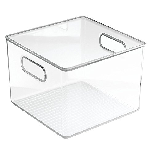 InterDesign Linus Bathroom Vanity Organizer Bin –  Cabinet Storage Box for Health and Beauty Products -  Clear