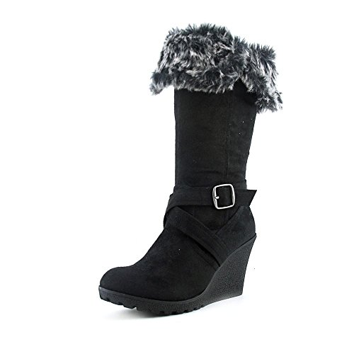 XOXO Women's Olivia Faux Fur Wedge Boots, Black, Size 7.0