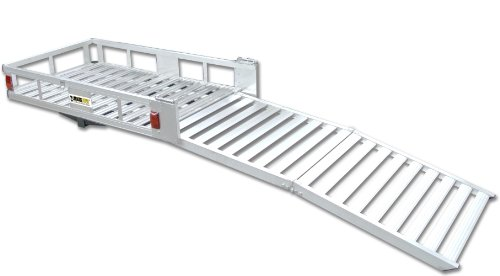 "MaxxHaul 70275 52-1/2"" x 29"" Aluminum Cargo Carrier with 60"" Folding Ramp"