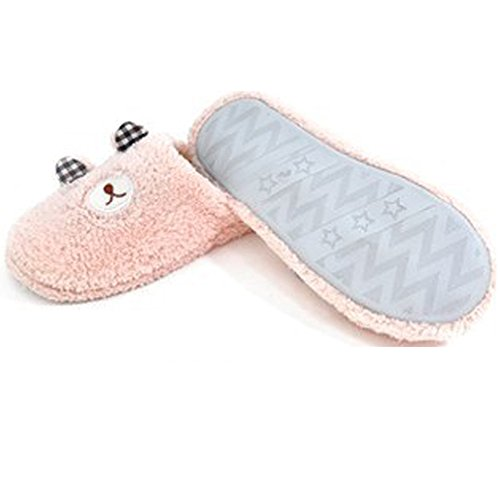 Minetom Belle House Pink Peluche Chaud Corail Shoes Slipper Velours ours Chaussons Femmes Hiver FRpFxwU1q