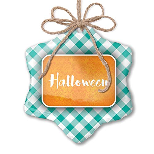 NEONBLOND Christmas Ornament Halloween Halloween Orange Wallpaper Pastel Mint Green Plaid