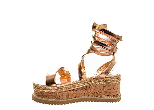 Shoes Gold Rose WoMen Ladies Flatforms Fuchia Rose Gold Sole boutique Cork Strap Sandals Cross Summer wUBx7q