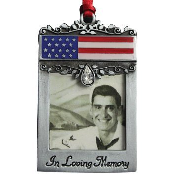 In Loving Memory USA Flag PEWTER Photo FRAME ORNAMENT For Deceased ARMED Forces VETERAN - Those Who Serve - Memorial of LOVED ONES KEEPSAKE - PATRIOTIC Military Memorium GIFT-BOXED