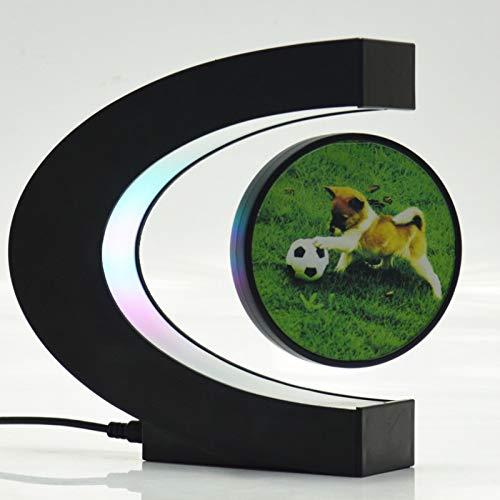 Digital Photo Frame C Shape Digital Frame Electronic Magnetic Levitation Floating Globe Photo Frame Blue Light Birthday Gift Xmas Wedding Gift(EU Plug)