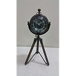 THORINSTRUMENTS (with device) NAUTICAL MARITIME ~ BLACK FINISH CLOCK WITH TRIPOD DESKTOP ~ TABLE CLOCK DECOR