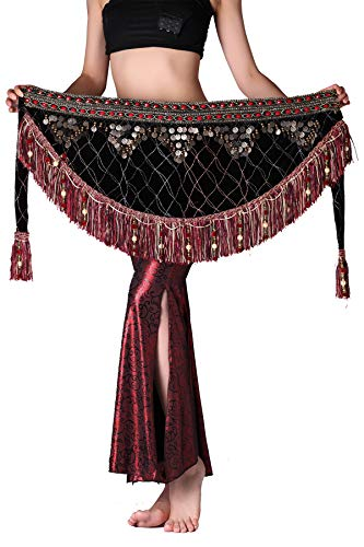 ZLTdream Women's Tribal Belly Dance Hip Scarf with tassel & copper Dark Red -