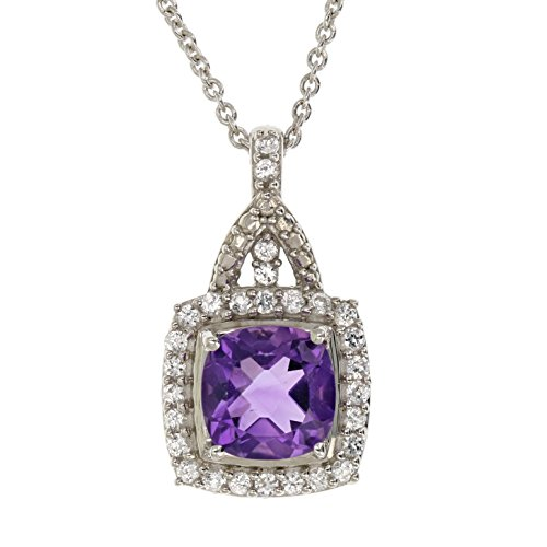 - Sterling Silver Created-Purple Amethyst Pendant (1.50 CT)