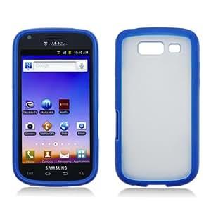 Samsung Galaxy S Blaze 4G T769 Case - Blue Clear Softgrip Hard Hybrid Gel Cover