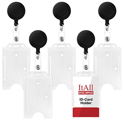 ItAll 5 Pcs Clear Badge Holder Open Face with Plastic Retractable Carabiner Badge Reel, Vertical Hard Rigid Plastic for Belt - Watches Wooden Nz