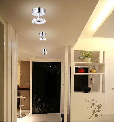 FidgetFidget Light Pendant Lamp New LED K9 Crystal Restaurant Aisle Hallway Square Chandelier
