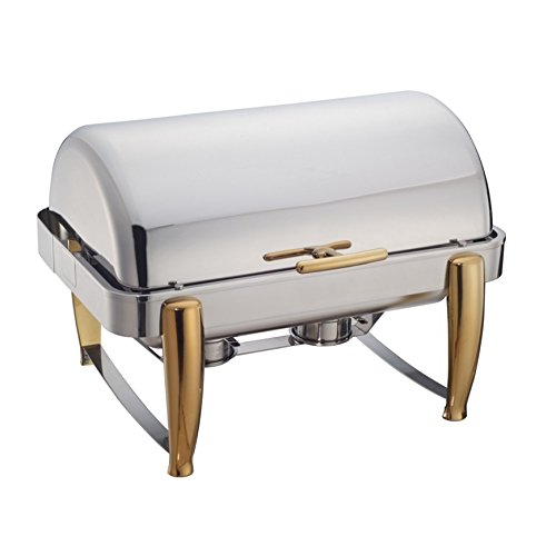 Winware 8-Quart Oblong Roll Top Chafer, Full Size Stainless Steel Chafing Dish with Gold (Gold Accented Roll Top Chafer)