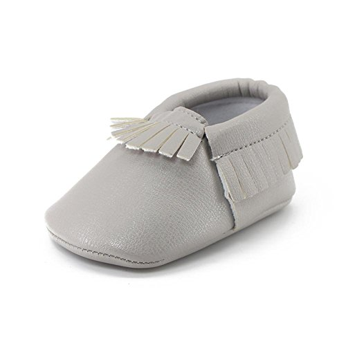 Mosunx(TM) Kids Tassel Soft Sole Leather Shoes Infant Boy Girl Toddler Shoes (12~18 Month, Gray)