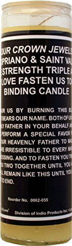 7 Sisters Of New Orleans 7 Day Glass Dressed Candle Fire Of Love Binding St. Cipriano & St. Valentine Triple Strength - Yellow