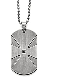 Stainless Steel & Black Diamond Brushed Dog Tag Necklace, 24 Inch