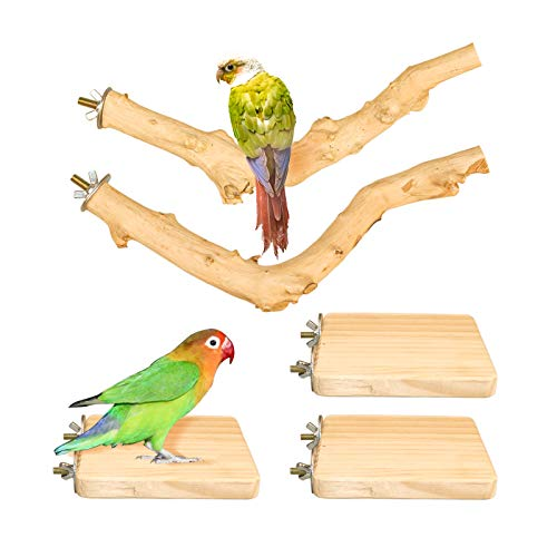 Roundler 5 PCS Bird Perch Wood Stand Pole,Bird Wood Perch Platform Exercise Playground Toy for Pet Parrot Budgie Parakeet Cockatiel Conure Lovebirds Cage Accessories Toys (H01)