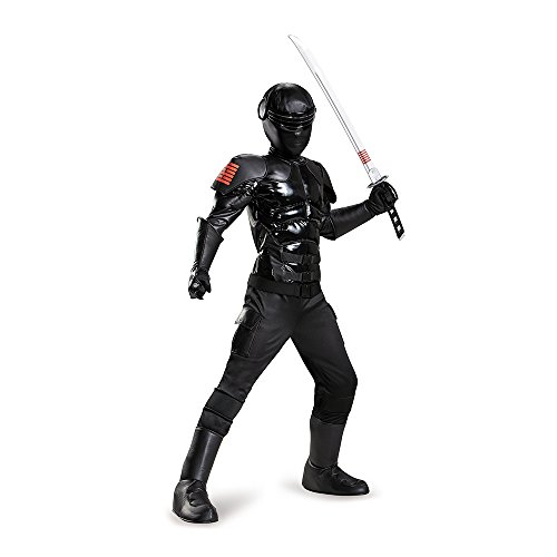 Gi Joe Black Ninja Costume (Snake Eyes Prestige Costume, Medium (7-8))