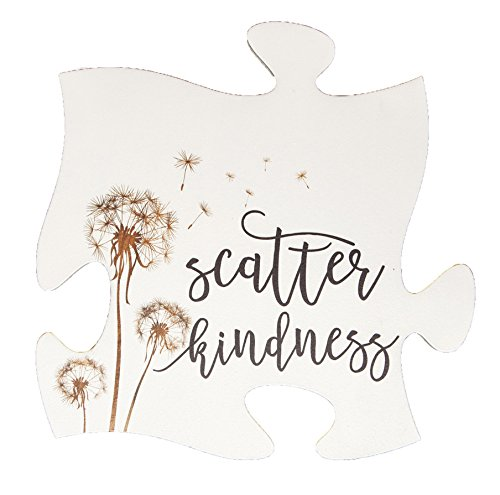 P. Graham Dunn Scatter Kindness Dandelion White 12 x 12 Wood Puzzle Piece Wall Sign Plaque ()