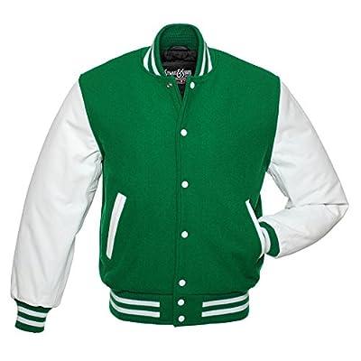 C106 Kelly Green Wool White Leather Varsity Jacket Letterman Jacket