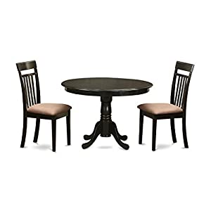 East West Furniture ANCA3-CAP-C 3-Piece Kitchen Table Set with Breakfast Nook, Cappuccino Finish