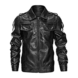 Big and Tall Leather Jacket Men, NRUTUP Black Leather Biker Jacket Cool Work Casual Vinyl Motorcycle Jacket Plus Size