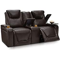Seatcraft Vienna Home Theater Seating Leather Sofa Loveseat Recline, Adjustable Headrest, Powered Lumbar Support, Center Storage Console, and Cup Holders, Brown