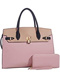 Large Padlock Accent Structured Business Satchel +Wallet- Blush/Beige
