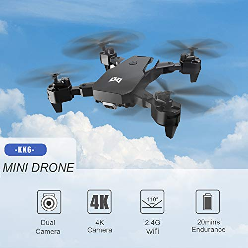 KK6 RC Drone with Camera Optical Flow Positioning Drone 4K Gesture Photo Video MV Production Altitude Hold Headless Mode…