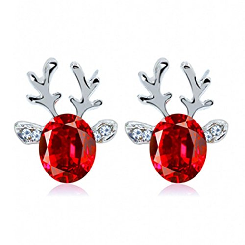 Christmas Earrings Gift! AMA(TM) Luxury Three Dimensional Christmas Reindeer Antlers Earing Xmas Crystal Gemstone Earrings (Red) (Gems Christmas)