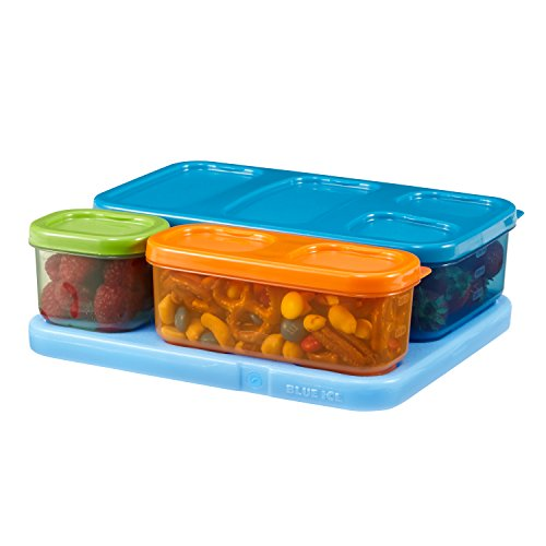 Rubbermaid 1866737 LunchBlox Kid's Flat Lunch Box Kit, Blue/Orange/Green