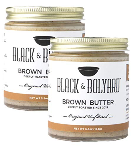 Black & Bolyard Original Unfiltered Brown Butter - Non-GMO, Sugar-free, Grass-fed Butter - Caramelized & Seasoned with Sea Salt - Gluten Free Ghee Butter/Clarified Butter Alternative - 2 x 5.5 Ounces