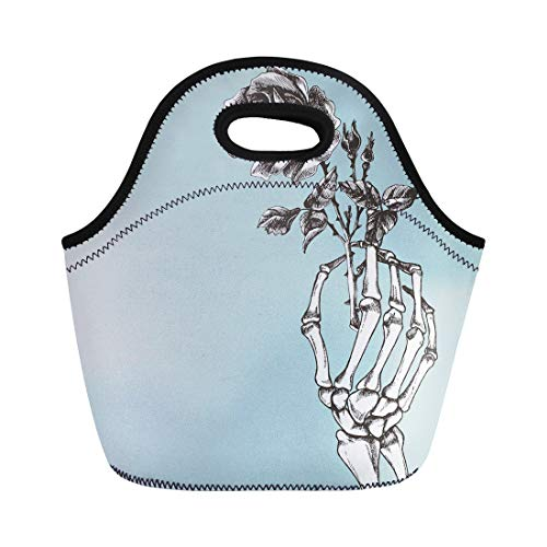 Semtomn Neoprene Lunch Tote Bag Death Hand Skeleton Flower Rose Gothic Goth Bone Love Reusable Cooler Bags Insulated Thermal Picnic Handbag for Travel,School,Outdoors, Work