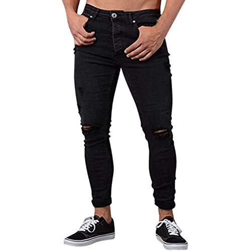 Nero Fori Effetto Slim Comodo Attillati Chern Da Casual Pantaloni Con Uomo Distrutto Battercake Jeans Invecchiato Stretch Fit Denim T0qYFF