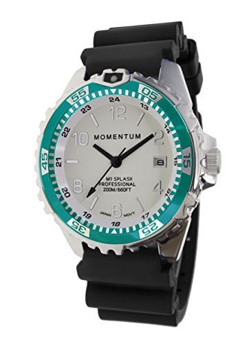 (Women's Quartz Watch   M1 Splash by Momentum  Stainless Steel Watches for Women   Dive Watch with Japanese Movement & Analog Display   Water Resistant ladies watch with Date -Lume  / Aqua Rubber)