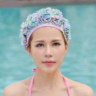 Ladies Petal Flower Vintage Style Swimming Hat Cap Sports Siwm Pool Swimming equipment blue flower