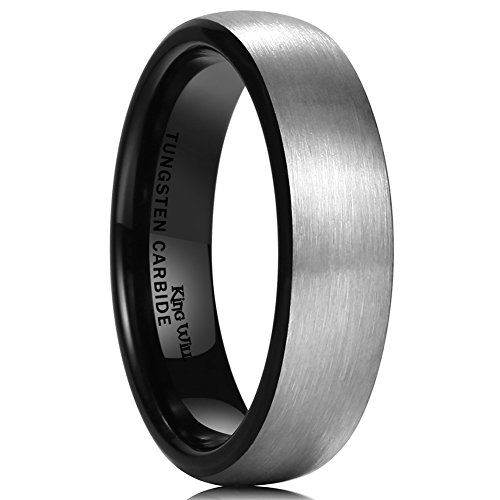 Domed Comfort Fit Wedding Ring - King Will BASIC 6mm Black Domed Brushed Tungsten Carbide Ring Men Women Wedding Band Comfort Fit Size 11