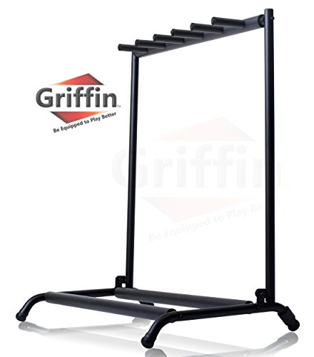 Five Guitar Rack Stand by Griffin | Holder for 5 Guitars & Folds Up For Easy Transport | Neoprene Tubing For Protection | Ideal For Music Bands, Recording Studios, Schools, Stage Performers & Artists from Griffin