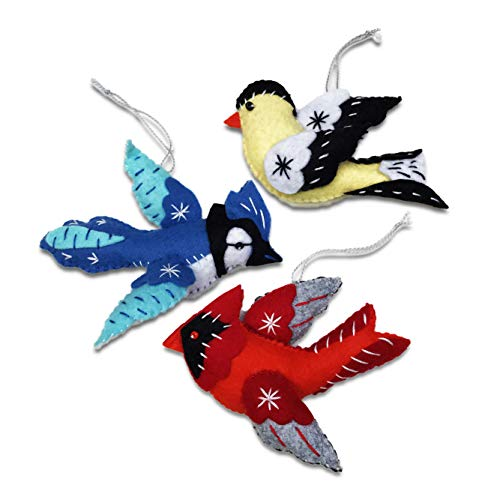 Handmade Christmas Ornament Patterns - Heidi Boyd | Cardinal, Blue Jay and Goldfinch Ornaments | Brighten Up Your Christmas Tree with These Handmade Holiday Ornaments | All Inclusive Felt Craft Sewing Kit Age 13+