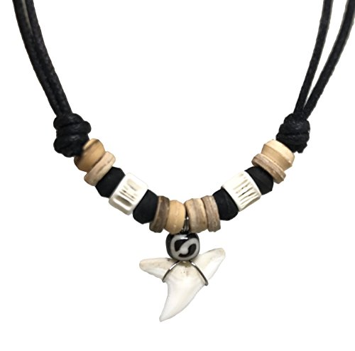 Shark Tooth Rasta Short Beads Necklace Handmade Hawaiian Style Beach Boy Men (White Bone - Black Nature Bead) Bone Tooth