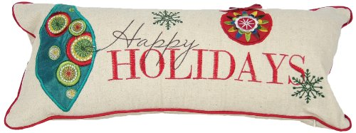 Manor Luxe Happy Holidays Embroidered Christmas Decorative Pillow Feather/Down Filled, 8 by 18-Inch - Luxe Bolster