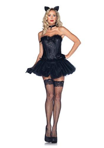 Black Cat Babe Costume 5pc Set Size Large (Black Cat Babe Costume)