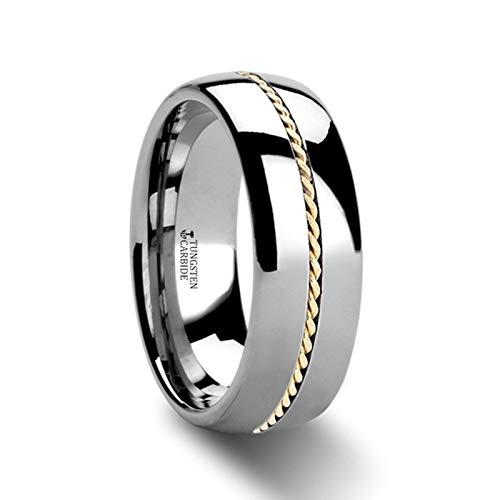(Goldwyn Braided 14k Gold Wedding Band Inlay Domed Tungsten Ring - 6mm & 8mm (Tungsten- 8mm,)