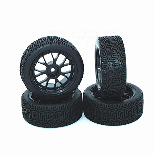 EYESKY RC 1/10 Scale Off-Road Vehicles Wheel Rim & Rubber Tires 12mm Hexagonal Joint Wheel Rim Rubber Tires Black for Off-Road Racing Car 4 PCS