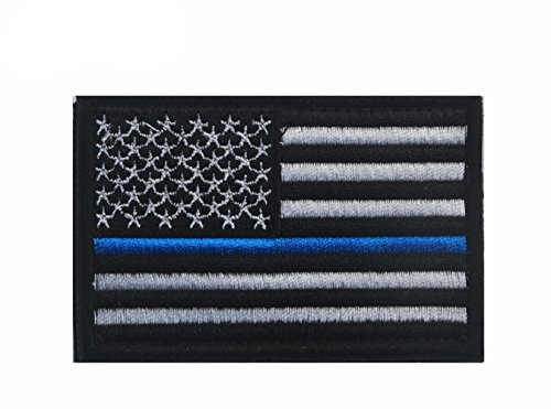 USA Flag Patch Thin Blue Line Police Flag American Military Embroider Motorcycle Biker Tactical Fully Embroidered Tags Patch Sew On-Police and Law Enforcement Honor USA