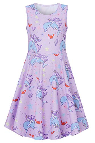 BFUSTYLE Lavender Party Dresses for Girls,Active Primary School Girls Swing Knee-Length Gown Dress Sleeveless Summer Stars Dolphin Mermaid Princess Dress for Vacation Trip Size 10 (XL,Dolphin)