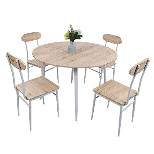 (Lucky Tree 5 Piece Kitchen Table and Chairs for 4 Dinning Room Table Set Wood Round Table Chairs Dinette Table Set Modern Design )