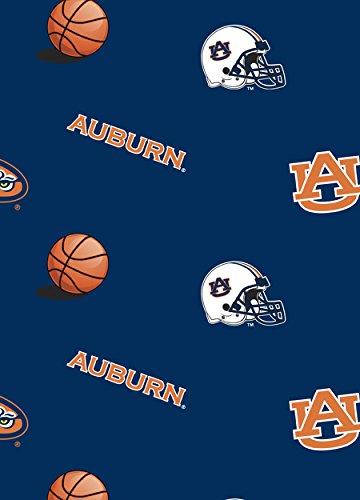 University of Auburn Tigers Polyester Fleece Fabric, Navy Blue & Burnt Orange - Sold By the Yard ()